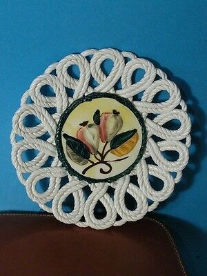 Vintage Hand Painted Porcelain Wall Plate Made In Spain Basket Weave Border