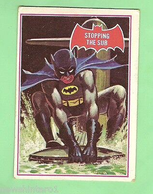 Scanlens 1966 Batman Red Bat Card #39A  Stopping The Sub