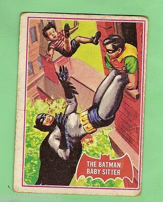 Scanlens 1966 Batman Red Bat Card #34A  The Batman Baby Sitter