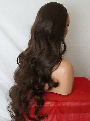 Half Wig Fall Clip In Hair Piece Curly Long 3/4 wig fall Choc brown cheap X-4