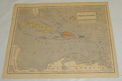 1858 Cornell Antique COLOR Map/WEST INDIES