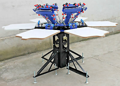 Micro-adjustable 6 Color 6 Station Double Rotary Printer Screen Printing Press