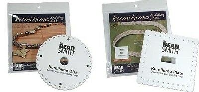 10 KUMIHIMO Braiding PLATES ~Ten DISC LOT~Five Round + Five Square +Instructions