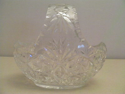 "Vintage Large Glass Basket 7.5"" high x 8.25"" Wide, Oval Shape"