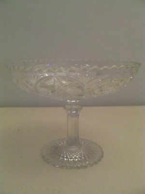 ANTIQUE EAPG VINTAGE CRYSTAL NEAR CUT GLASS COMPOTE FOOTED DISH