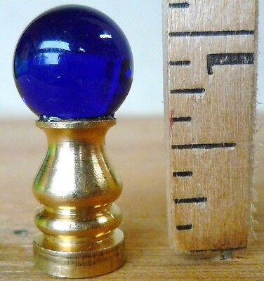 "Lamp Finial CUTE Cobalt Blue glass brass base 5/8""d small (priced per each)"