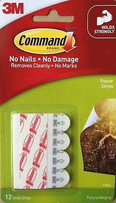 3M Command Poster Strips Self Adhesive Tabs 12 Per Pack Picture Hanger 17024Anz