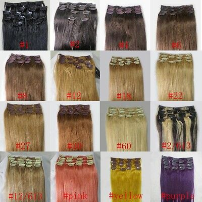 "Remy Clips In Real Human Hair Extensions Straight 20"" 22"" 26"" 100g / 28""-36""140g"