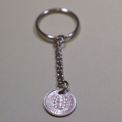 1937 80th silver threepence coin keyring - 80th birthday 1937 coin