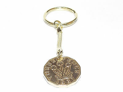 1937 80th Threepence keyring -  1937 80th coin - Ideal Gift