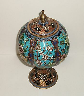 Rare Chinese Cloisonne Enamel Floral Blossoms Birds & Butterfly Compote Jar Box