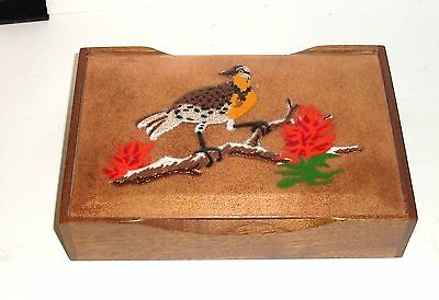 Annemarie Davidson Bird On A Tree Humidor Enamel Copper Wooden Box