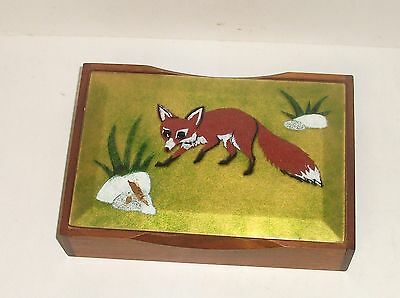 Annemarie Davidson Fox Design Humidor Enamel Copper Wooden Box