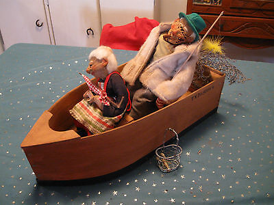 TWO DOLLS IN FISHING BOAT VERY OLD RARE ALL ACCESORIES ARE INCLUDED VINTAGE