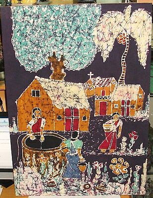 Large Church Town Water Well Original Batik Painting Signed