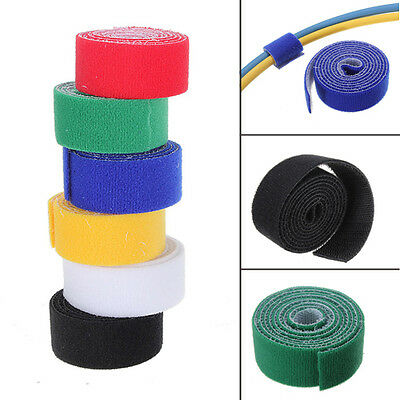1m 25mm Sticky Reusable Strap Magic Tape Strip Tie Roll color choose