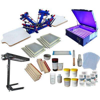 Brand new 4 Color Silk Screen Printing Press Printer With Complete Screening Kit