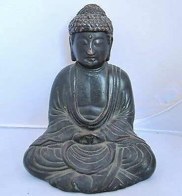 """7.4"""" Antique Chinese Bronze or Copper Seated BUDDHA in Lotus Position"""