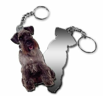 MIRRORED ACRYLIC SCHNAUZER KEYCHAIN DOG KEYRING Made in USA KEY CHAINS CHAIN
