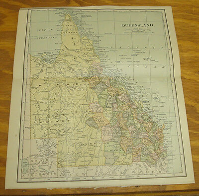 1904 Antique COLOR Map/QUEENSLAND, AUSTRALIA