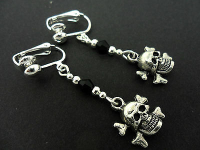 A Pair Tibetan Silver  & Black Crystal  Clip On Skull & Crossbones  Earrings.