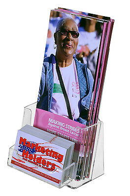 """Tri Fold Brochure & Business Card Holders Holds 4"""" Wide Literature Qty 15 Clear"""