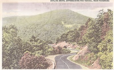 Skyline Drive, Approaching the Tunnel, Near Panorama US 211  Linen Postcard