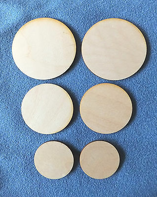 6cm 8cm &10cm x 4mm  Wooden Birch Plywood CIRCLE Craft Shapes Blanks Coasters