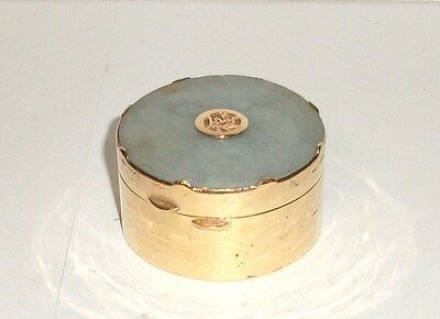 Carved Chinese Medallion White Jade Gold Gilt Trinket Jar Box