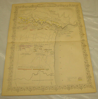 1855 CRIMEAN WAR Map/COLOR/BATTLE OF THE ALMA, SHOWING MILITARY POSITIONS