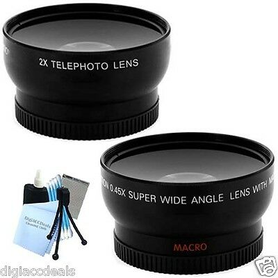 52mm Professional Wide Angle and Telephoto Lens Set fits  Nikon D3000 and D3100