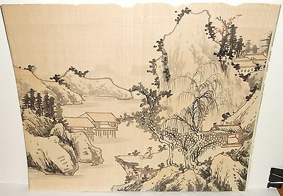Old Japanese Landscape Watercolor On Silk Unsigned Painting