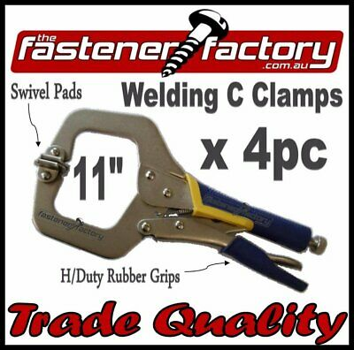 C Clamps 11'' 4Pc W/swivel Pads Rubberised Grip Welding Vice Grip Locking Tools