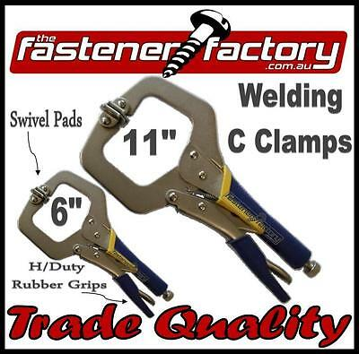 """C Clamps 6'' & 11"""" W/swivel Pads Rubberised Grip Welding Vice Locking Tools"""