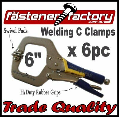 C Clamps 6'' 6Pc W/swivel Pads Rubberised Grip Welding Vice Grip Locking Tools