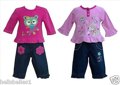 Baby Girl's 2Pc Long Sleeve Top & Jeans Set In 2 Designs 0-6 6-12 12-18 Mths