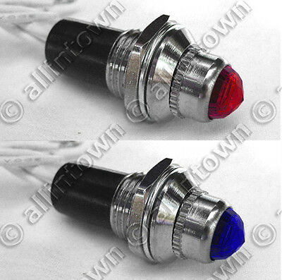 12v INDICATOR LIGHTS LAMPS PILOT DASH TOGGLE SIGNAL RED BLUE LIGHT HOT ROD