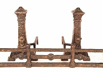 Antique Arts and Crafts Andirons w/Fender, Hand-Hammered Brass over Iron