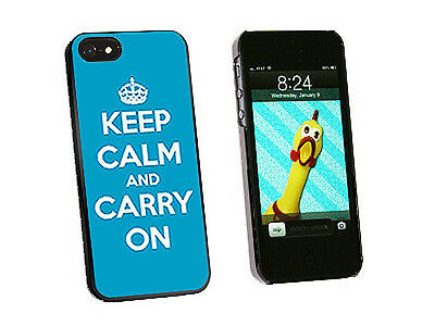 Keep Calm and Carry On Blue - Hard Protective Case for Apple iPhone 5 - Black