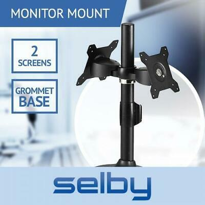 "Up to 24"" 8kg Dual LCD Screen Pole Mount Stand Monitor Bracket Grommet Base VESA"