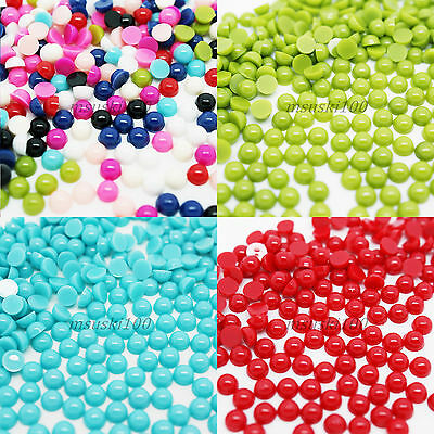 Half Pearls Round Flat Back Acrylic Gems Nail Art Crafts 3D Decoration New