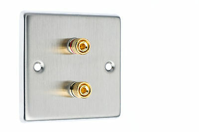 Stainless Steel Speaker Wall Face Plate Two Gold Binding Posts for Banana Plugs