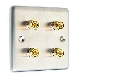 Stainless Steel Speaker Wall Face Plate 4 Gold Binding Posts Banana Plug 1 Gang