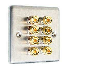 Stainless Steel Speaker Wall Face Plate 8 Gold Binding Posts Banana Plug 1 Gang