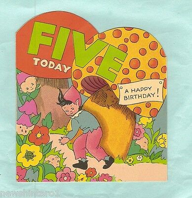 #d7. Old Unused Illustrated Birthday Card - Five Today