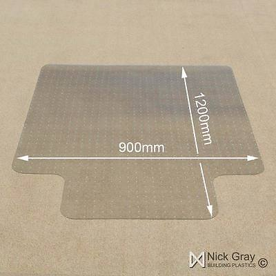 Chair Mat Carpet Protection Lipped & Spiked Clear PVC W900mm x D1200mm