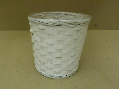 Designer Pot Container 7in H x 7in Diameter White Plastic Liner Wicker