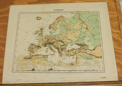 1867 Antique COLOR Map of EUROPE, PHYSICAL, Hand-Colored