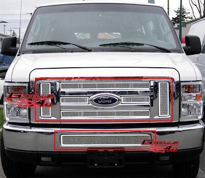 Fits 2008-2014 Ford Econoline Van/E-Series Stainless Steel Mesh Grille Combo