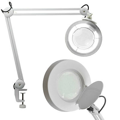 NEW Desk Clamp MAGNIFYING LAMP BEAUTY Adjustable FACIAL MAGNIFIER w/ Base